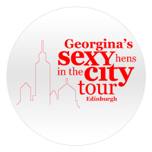 Sexy hens in the city badge with red text and building outline on a white badge