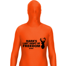 Orange Morphsuit with black text.