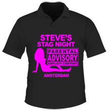 A hot pink personalsied T-shirt.
