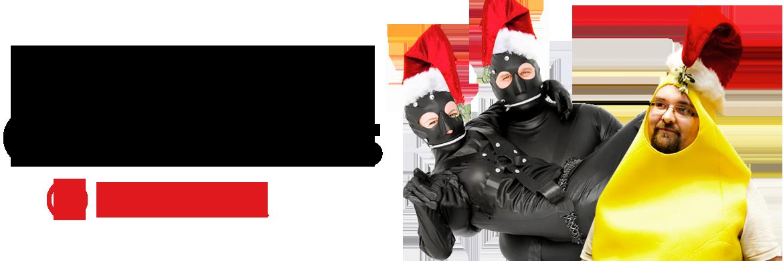 Merry Christmas banner with festive banana and gim