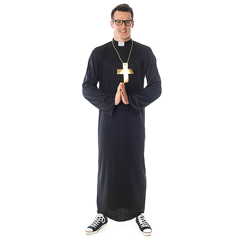 Frong Facing Priest Costume With Gold Cross Necklace