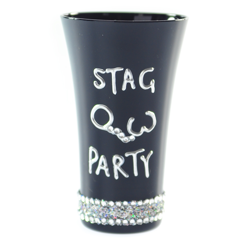 Hand Painted Black Stag Party Shot Glass