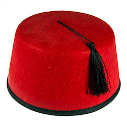 Model Wearing Red Fez Hat