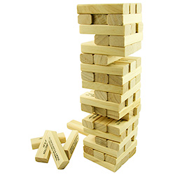 Keel Over Jenga On White Background