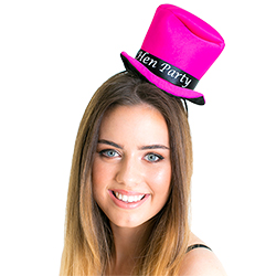 Model wearing the Pink Mini Hen Night Top Hat