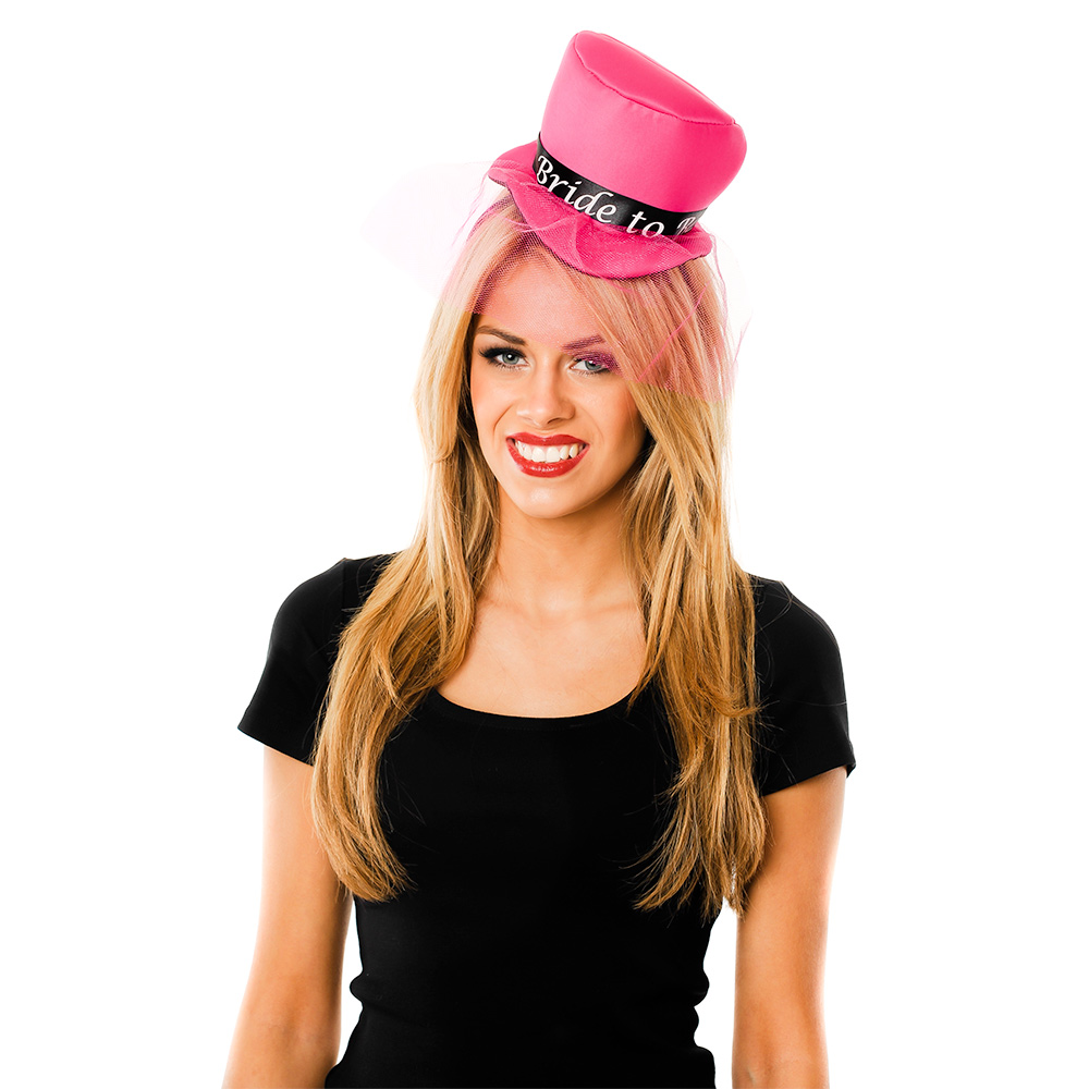 Model Wearing Pink Mini Bride To Be Top Hat