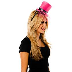 Model Wearing Sideways Pink Mini Bride To Be Top Hat