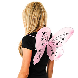 Back View Of Pink Fairy Wings With Stars