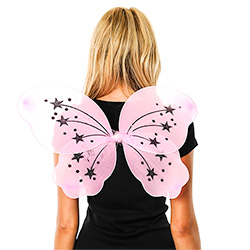 Back View Of Model Wearing Pink Fairy Wings With Stars