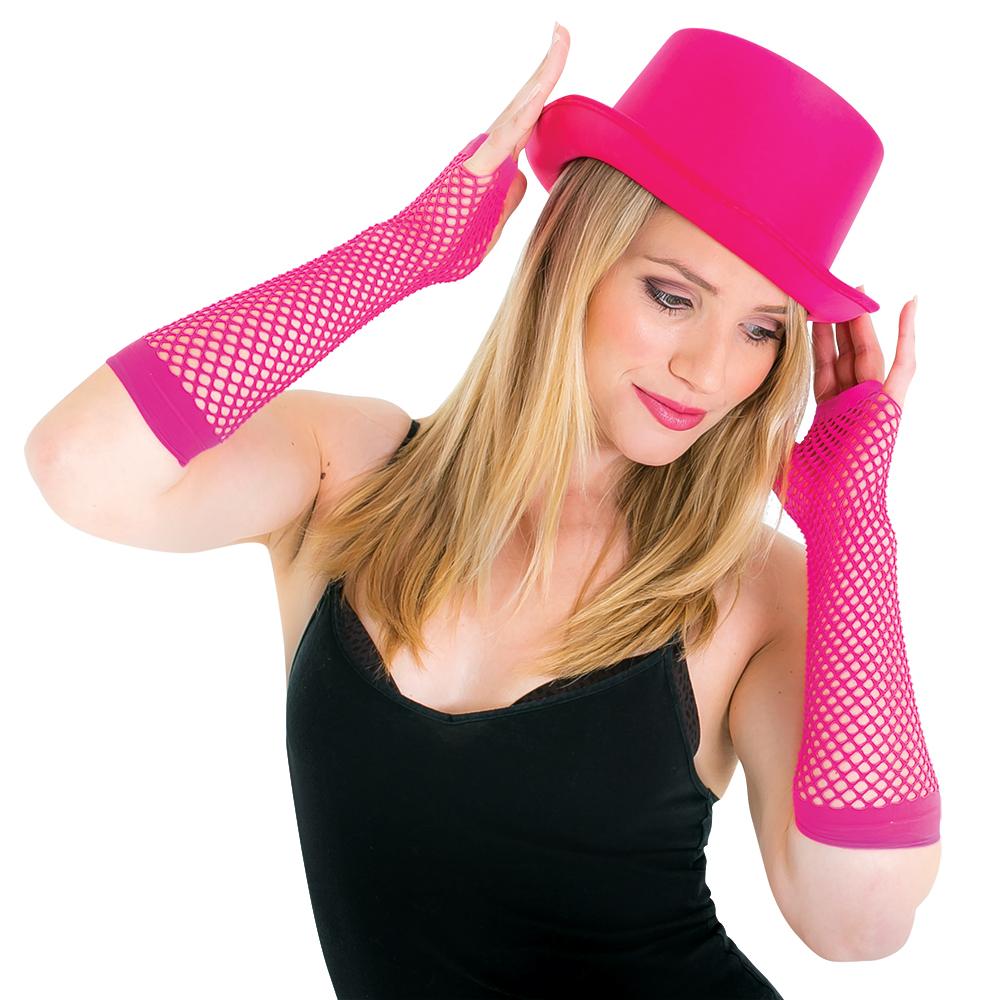 Both Pink Fishnet Gloves