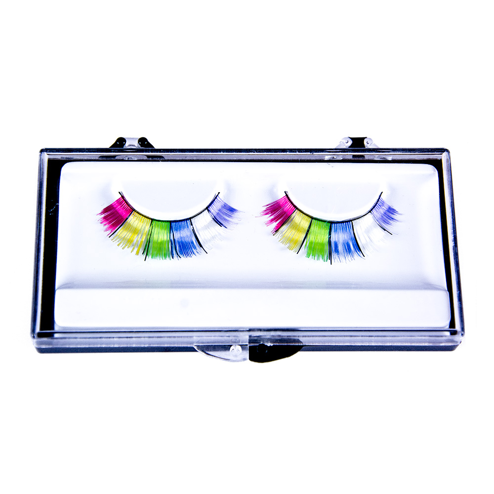 Wide Rainbow False Eyelashes In Box On White Background