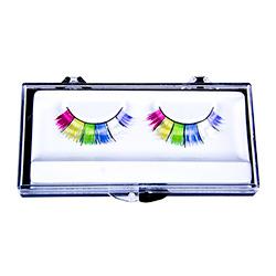 Wide Rainbow False Eyelashes In Box On White Background