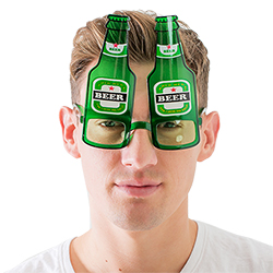 Beer bottle glasses worn by a model