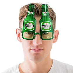 Beer bottle glasses worn by a model
