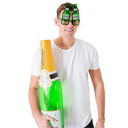 Beer bottle glasses and an inflatable champagne bottle