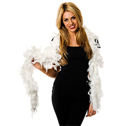 White Feather Boa In Front Of A White Background