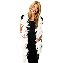 White Feather Boa Worn By Model
