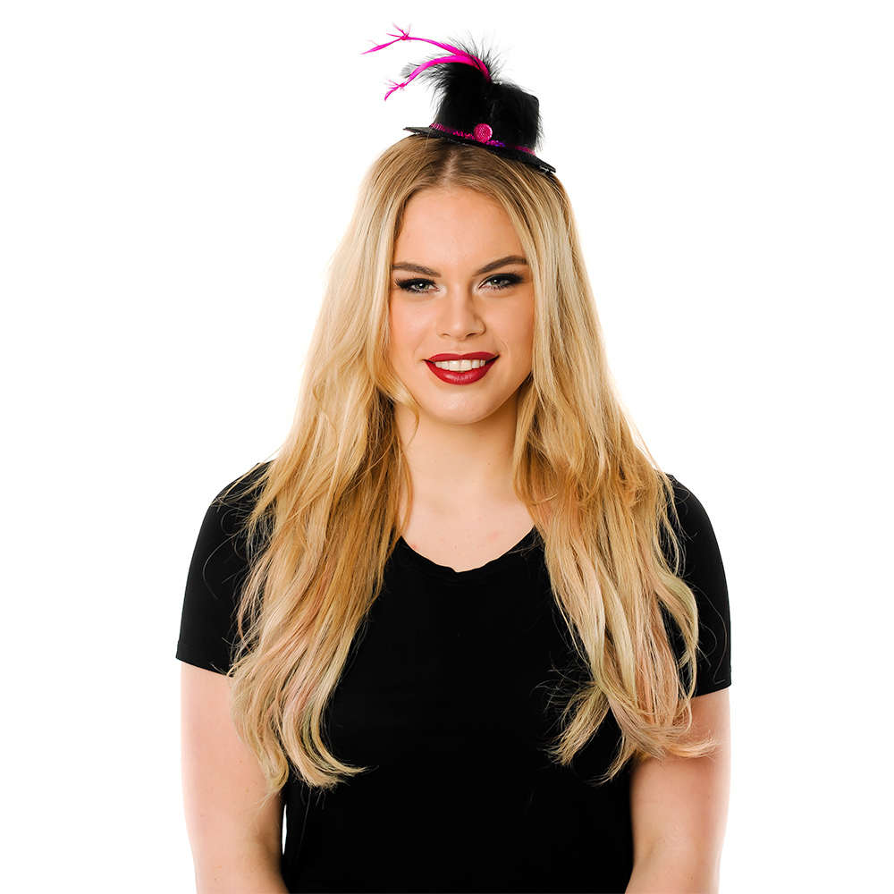 Model Wearing Mini Black Top Hat With Pink Trim