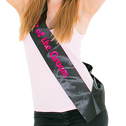 The model is really happy with the sash
