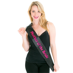 Shiny text mother of the bride sash