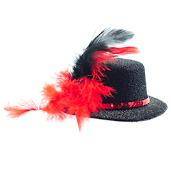 Product Image Of Mini Black Top Hat With Red Trim