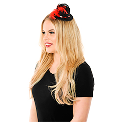 Mini Black Top Hat With Red Trim Side View