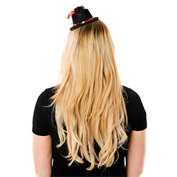 Back View Of Mini Black Top Hat With Red Trim