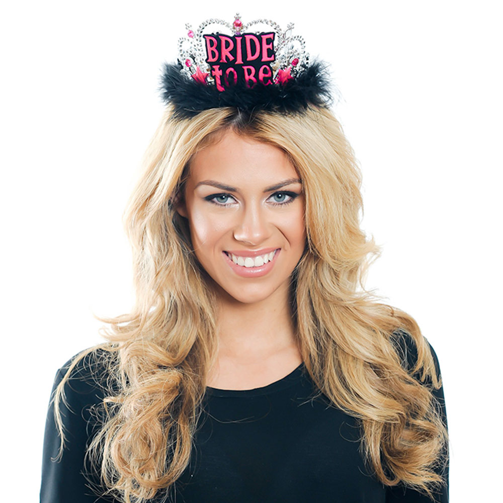 Front Of Black, Silver and Pink Bride To Be Tiara