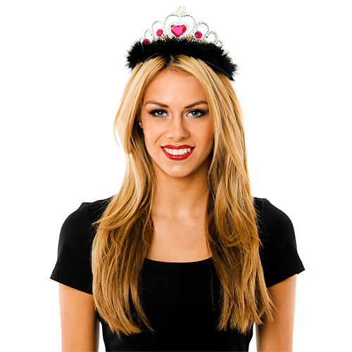 Model Wearing Silver and Pink Tiara With Black Fur Trim