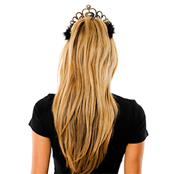Back View Of Model Wearing Silver and Pink Tiara With Black Fur Trim