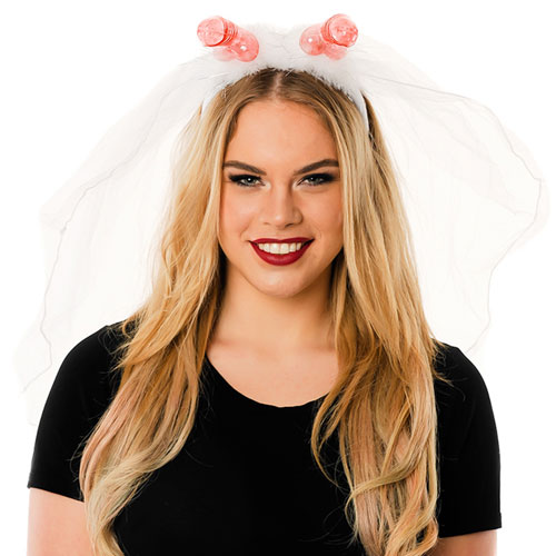 Model Wearing Veil With Willy Headboppers In Front Of White  Background