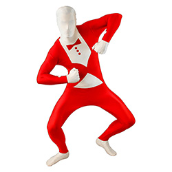 Red Tuxedo Morphsuit On White Background