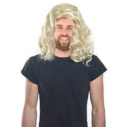 Man in a Long Blonde Wig