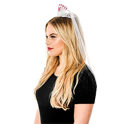 Side View Of Model Wearing Silver Bride To Be Tiara