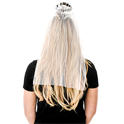 Back View Of Model Wearing Silver Bride To Be Tiara