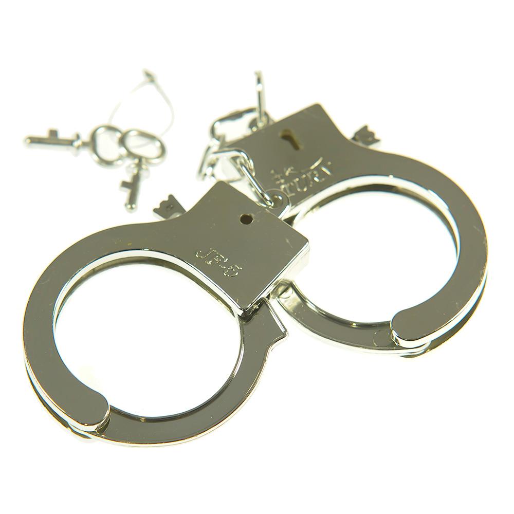 Novelty Silver Metal Hand Cuffs  On White Background