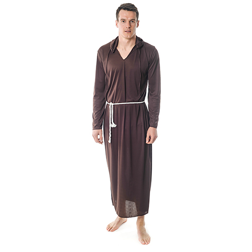 Front Facing Brown Monk Costume With String Belt