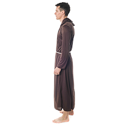 Side Facing Brown Monk Costume With String Belt
