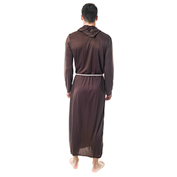 Back Facing Brown Monk Costume With String Belt