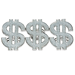 Rapper And Pimp Dollar Rings On White Background