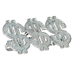 Rapper And Pimp Dollar Rings Side View