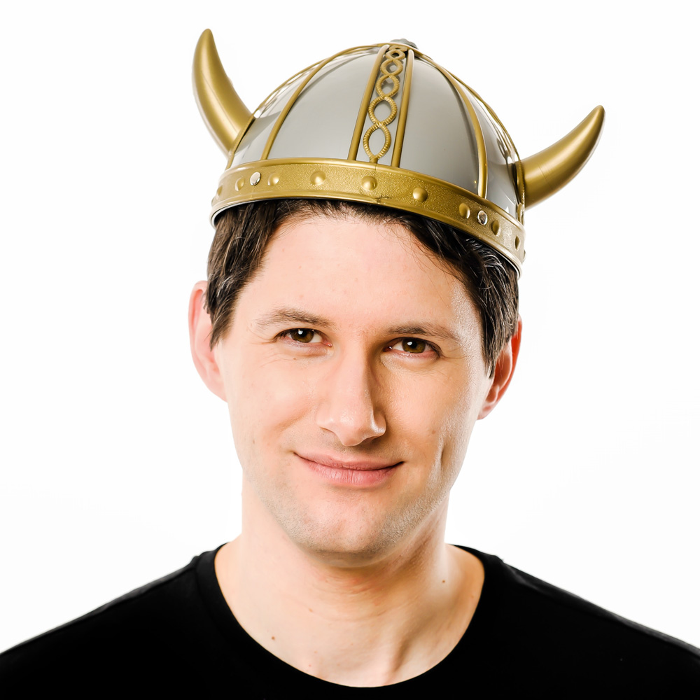 Front Product Image Of Gold And Silver Viking Helmet