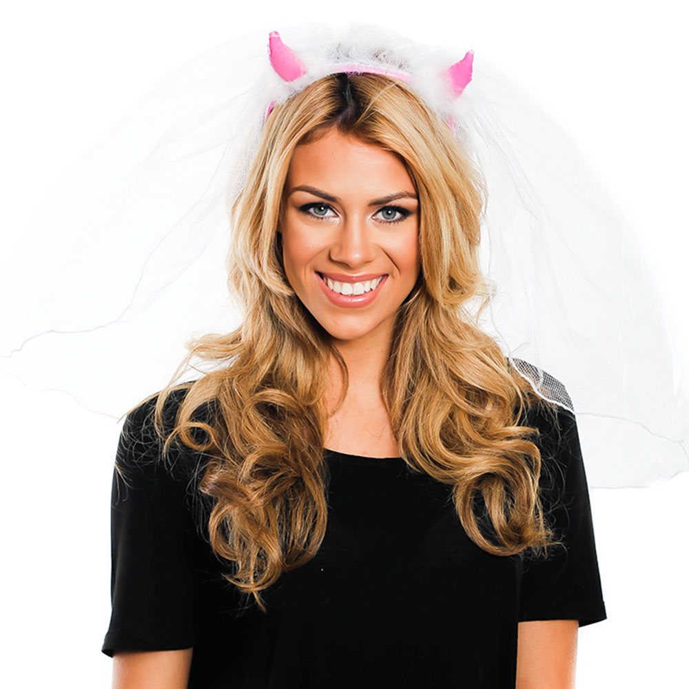 White and Pink Devil Horns With Veil On Model