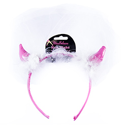 Close Image Of White and Pink Devil Horns With Veil