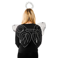 Black Angel Wings and Silver Halo