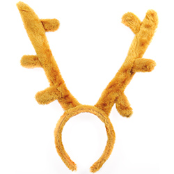 Model Wearing Stag Antlers