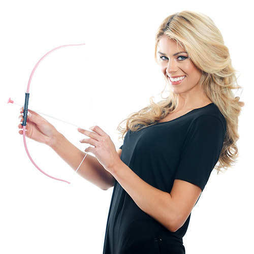 Model Holding Pink and White Bow and Arrow