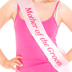 Pink sash with red writing