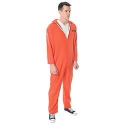 Side Facing Orange Escaped Prisoner Costume