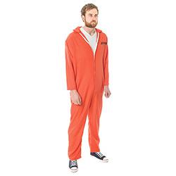 Side Facing Orange Escaped Prisoner Costume